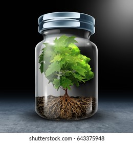 Psychological limitations psychology concept as a tree shaped as a human head with growth constrained in a glass jar as a metaphor for feeling imprisoned or restrained with 3D illustration elements.
