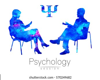 The psychologist and the client. Psychotherapy. Psycho therapeutic session. Psychological counseling. Man woman talking while sitting. Silhouette. Blue profile. Modern symbol logo. Design concept sign