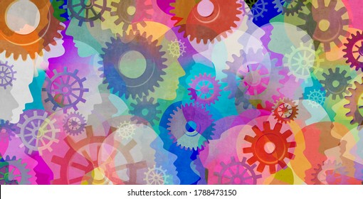Psychology background and schizophrenia psychiatric disease as a psychiatry and mental health concept for human abnormal personality behaviour and mood disorder with 3D illustration elements.