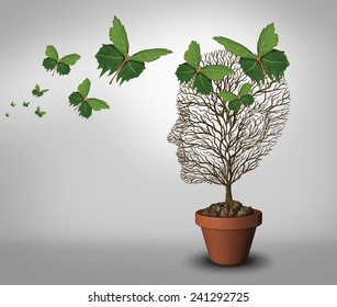 Psychology help and solutions to psychiatric problems and mental health as a learning concept with an empty tree and leaves shaped as butterflies coming to support and fill the void.