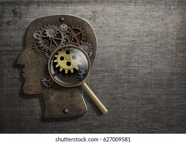 Psychology or invent concept. Brain model with magnifying glass 3d illustration.