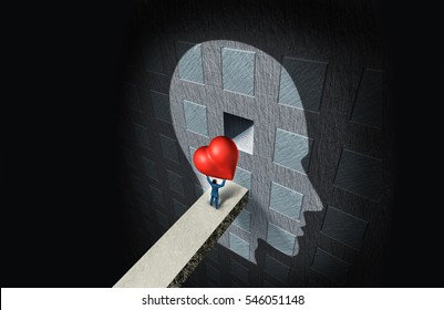 Psychology of love or psychological sexual therapy as a person holding a heart placing it in a compartment inside the human mind as a relationship solution with 3D illustration elements.