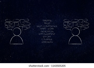 psychology and the mind conceptual illustration: people next to each other with comic bubbles and list of positive emotions between them