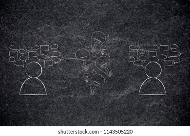 psychology and the mind conceptual illustration: people next to each other with comic bubbles and group of ideas being shared between them