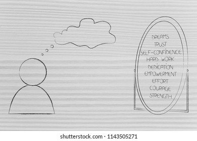 psychology and the mind conceptual illustration: person with empty thought bubble loking at a list of his positive emotions in the miror