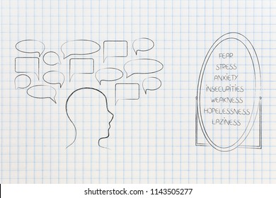 psychology and the mind conceptual illustration: person with empty comic bubbles facing a list of his negative emotions in the miror