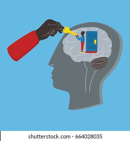 Psychology, psychotherapy, mental healing concept. Key to subconscious, soul, mind. colorful illustration in flat style