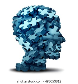 Psychology puzzle concept as a a group of 3D illustration jigsaw pieces shaped as a human head as a mental health symbol for psychiatry or psychology and brain disorder icon on a white.