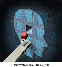 Psychology therapy concept as a doctor holding a red block to repair a compartmentalized human brain as a mental health icon for psychiatry or neurology treatment by a surgeon or research scientist.