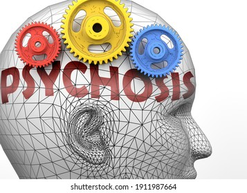 Psychosis and human mind - pictured as word Psychosis inside a head to symbolize relation between Psychosis and the human psyche, 3d illustration