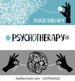 Psychotherapy concept banners set, with human hands untangling thrads, illustration