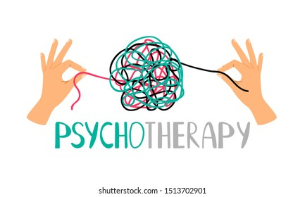 Psychotherapy concept illustration with hands untangling messy snarl knot, illustration