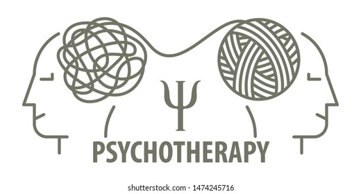 Psychotherapy concept in linear style. Psychologist unravels tangled tangle untangled. Minimalistic line face and tangled tangle.  illustration