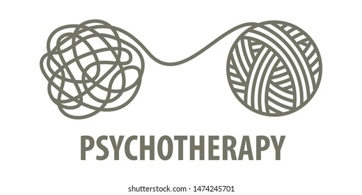Psychotherapy logo concept in linear style. Psychologist unravels tangled tangle untangled.  illustration
