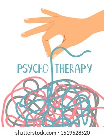 Psychotherapy poster, human hand untangling thread, illustration