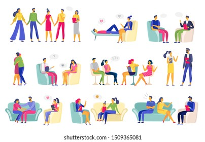Psychotherapy session. Psychologic therapy, family psychologist and psychotherapist sessions. Addiction or depression treatment sessions, mental problem couch.  illustration isolated icons set