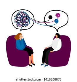 Psychotherapy. Woman psychologist with tangled and untangled brain metaphor, society psychiatry concept illustration