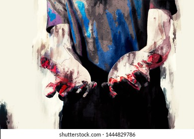 Psychotic murderer and bloody hands