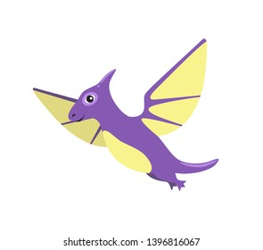Pteranodon dinosaur with wings flying of purple color type creatures able to make flights raster illustration isolated on white background