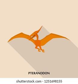 Pteranodon icon. Flat illustration of pteranodon icon for web design