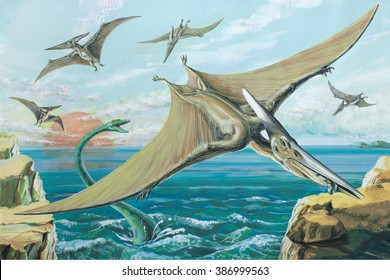 Pteranodon One of the largest ever flying reptiles, with a wingspan of over 26 ft (8 m).?About 18 ft (5-5 m) high and 50 ft (15 m) long.? Cretaceous, about 90 million years ago.