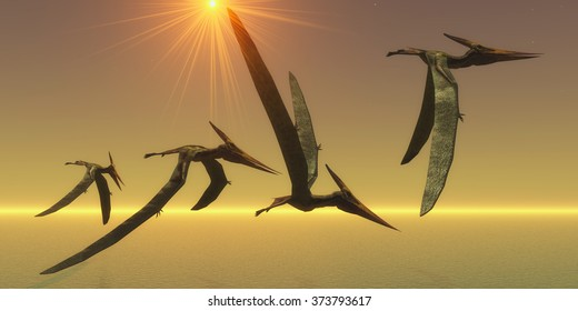 Pteranodon Reptile Flight - Pteranodons are flying reptiles that lived in the Cretaceous Period of North America in Earth's history.