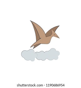 pterodactyl cartoon icon. Element of Jurassic period icon for mobile concept and web apps. Color cartoon pterodactyl icon can be used for web and mobile on white background