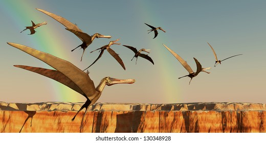 Pterodactyl - A flock of Pterodactyls fly out of a canyon looking for new prey to eat.
