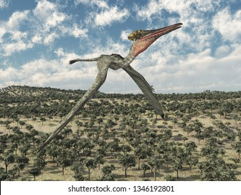 Pterosaur Pterodactylus flying over a landscape Computer generated 3D illustration