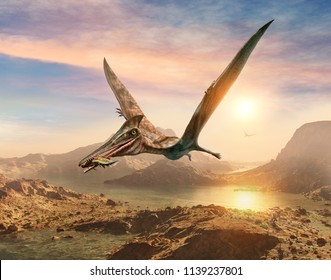 Pterosaur scene 3D illustration