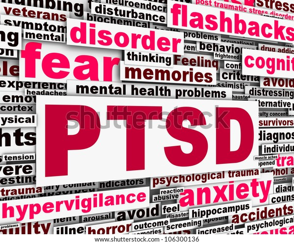 PTSD message conceptual design. Mental health anxiety disorder