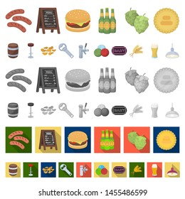 Pub, interior and equipment cartoon icons in set collection for design. Alcohol and food bitmap symbol stock web illustration.