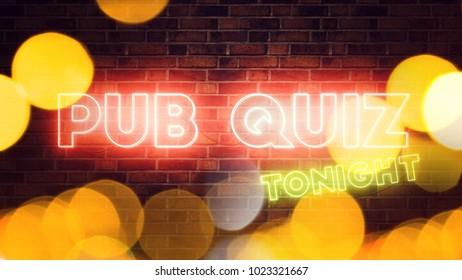Pub Quiz neon sign mounted on brick wall, 3d render illustration