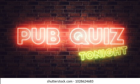 """Pub Quiz"" neon sign mounted on brick wall, 3d render illustration"