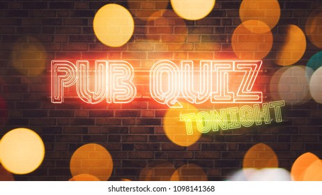 Pub Quiz neon sign mounted on brick wall, 3d rendering illustration