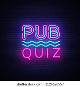 Pub Quiz night announcement poster design template. Quiz night neon signboard, light banner. Pub quiz held in pub or bar, night club. Pub team game. Questions game bright retro sign. .