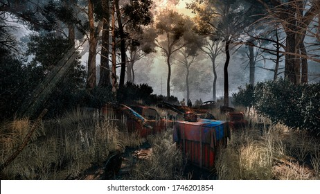 PUBG illustrated the forest full of zombie