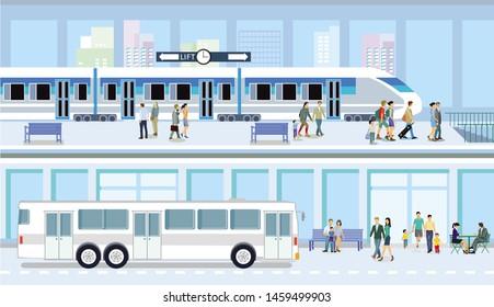 Public bus and train transport illustration