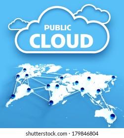 Public computing cloud network concept over communication world map