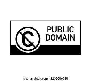 Public domain sign with crossed out C letter icon in a circle.  stock illustration.