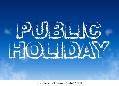 Public holiday cloud words in the sky concept