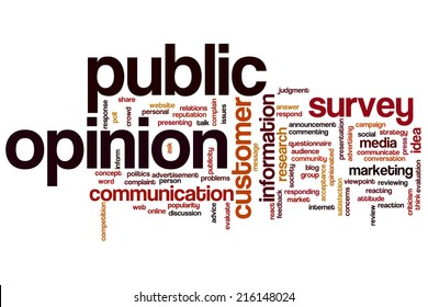 Public opinion concept word cloud background