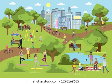 Public park in the city with people doing sport, relaxing and playing.