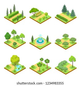 Public park isometric 3D set. Flower bed, pool with water, lawn with green grass and decorative trees, park roads and benches illustration. Nature map elements for parkland landscape design.