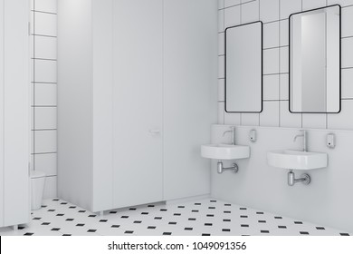 Public restroom interior with white and white tiled walls and floor and a row of sinks. A side view. 3d rendering mock up