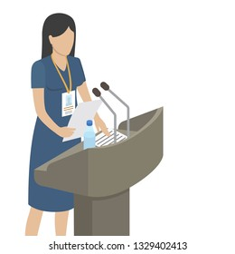 Public speech performed by woman in navy dress with papers and bottle of water on grandstand isolated raster illustration.