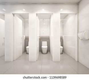 Public toilet design with marble tiles , 3d rendering