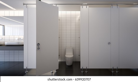 Public toilet with water closet , 3d rendering