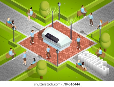 Public wireless technology access isometric poster with symbolic wifi internet connection router outdoor and smartphone users  illustration