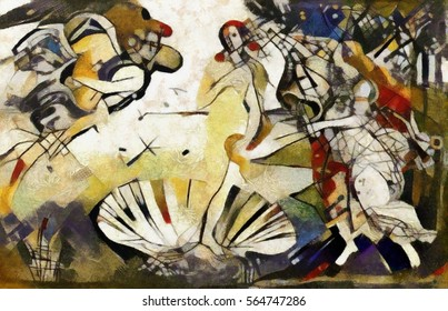 Public world masterpiece of the Renaissance in the author's treatment of style of abstraction Picasso. Exclusive blended two styles in one picture. Executed in oil on canvas with elements of pastels.